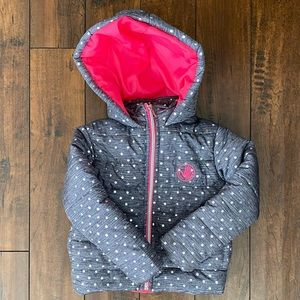 Girls 5T, body glove puffer jacket. Gray & pink.